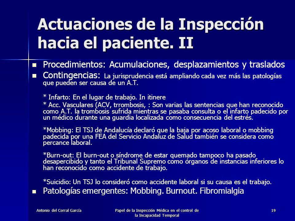 Actuaciones de la Inspección hacia el paciente. II