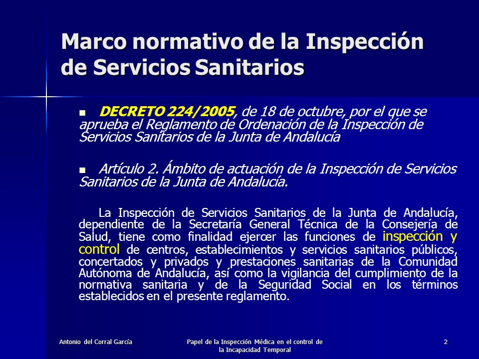 Marco normativo de la Inspección de Servicios Sanitarios