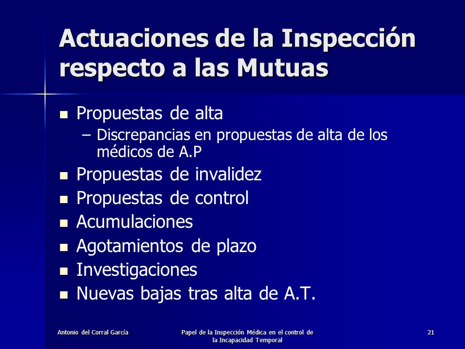 Actuaciones de la Inspección respecto a las Mutuas
