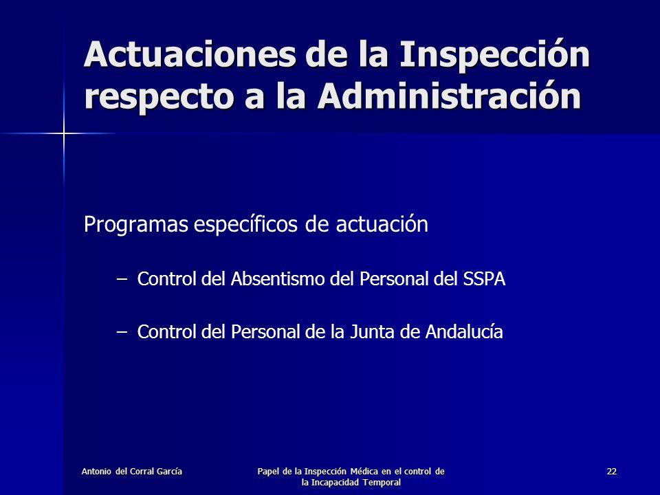 Actuaciones de la Inspección respecto a la Administración