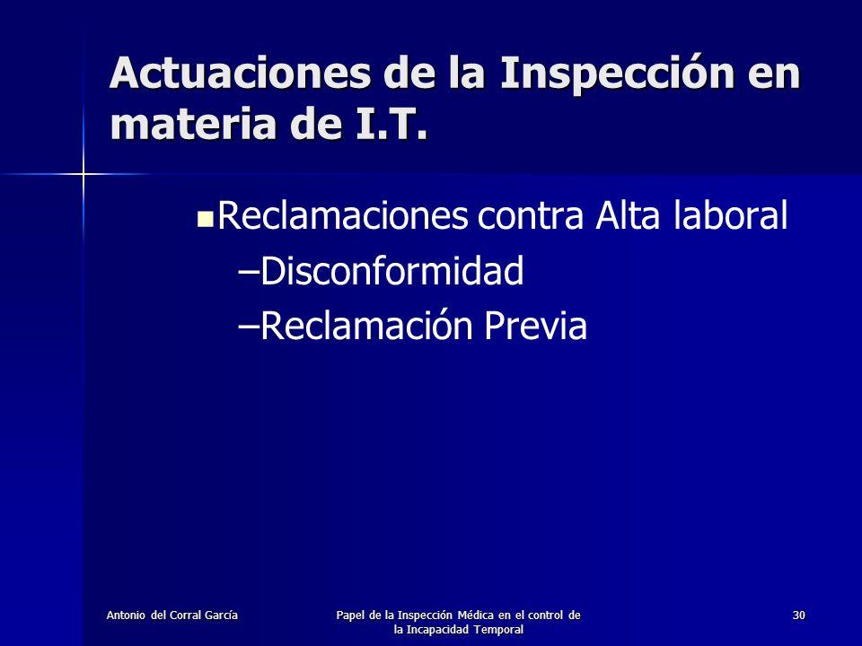 Actuaciones de la Inspección en materia de I.T.