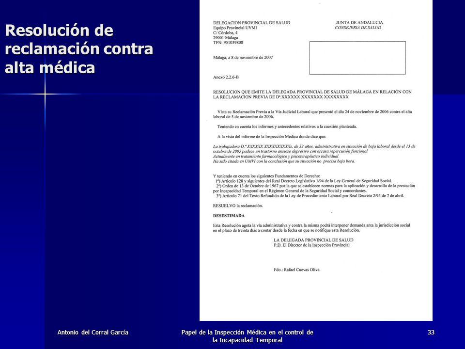 Resolución de reclamación contra alta médica