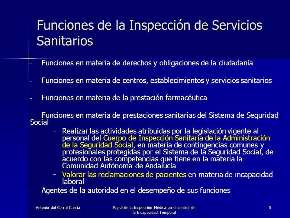 Funciones de la Inspección de Servicios Sanitarios
