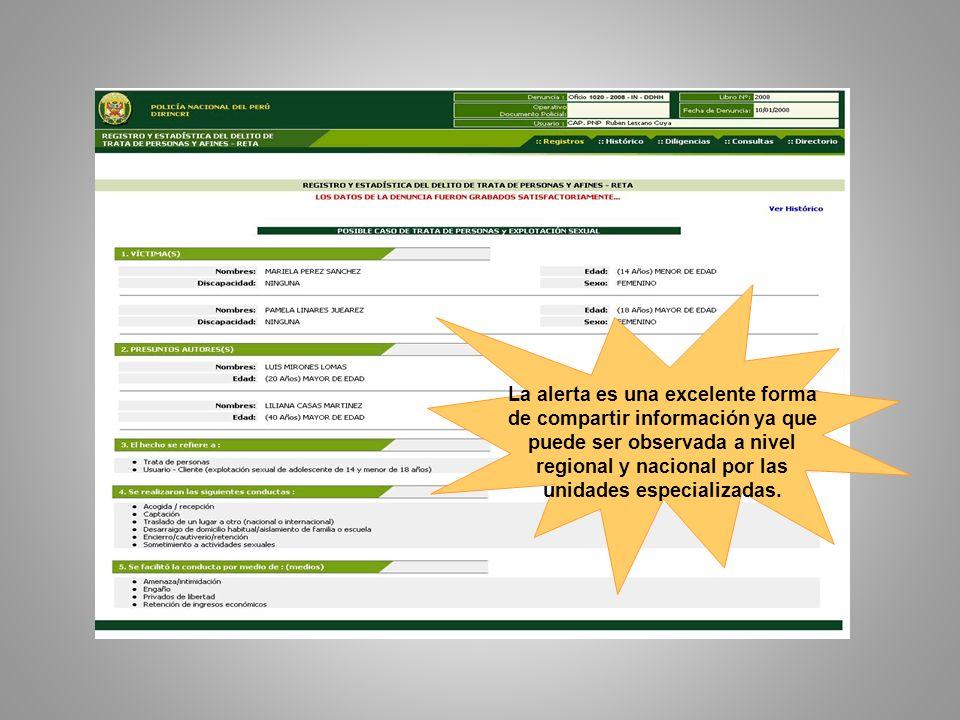 La alerta es una excelente forma de compartir información ya que puede ser observada a nivel regional y nacional por las unidades especializadas.
