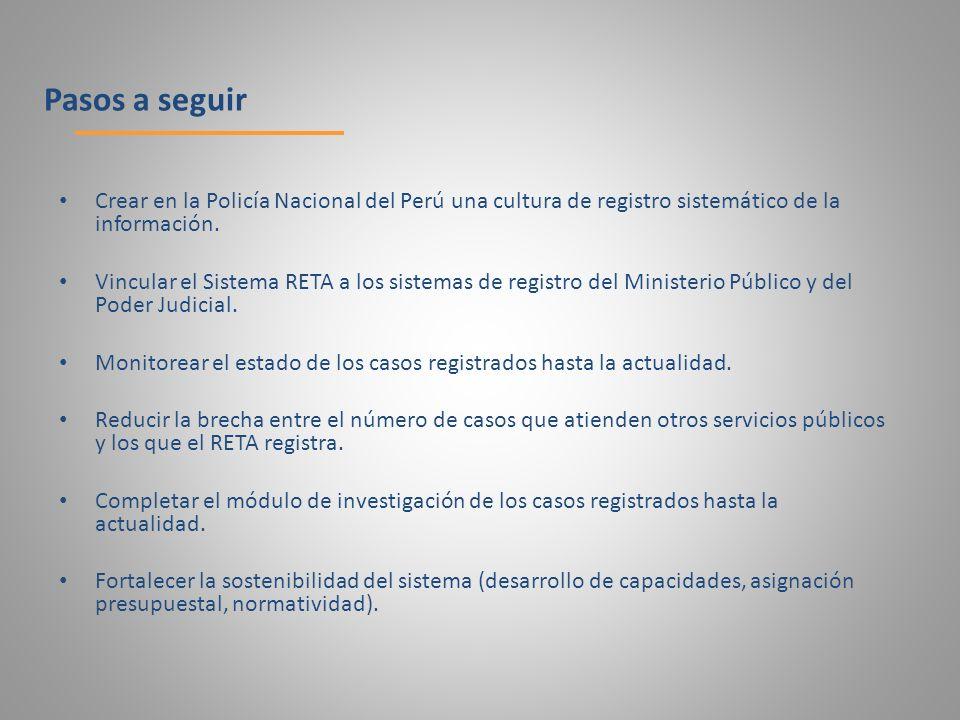 Pasos a seguir Crear en la Policía Nacional del Perú una cultura de registro sistemático de la información.