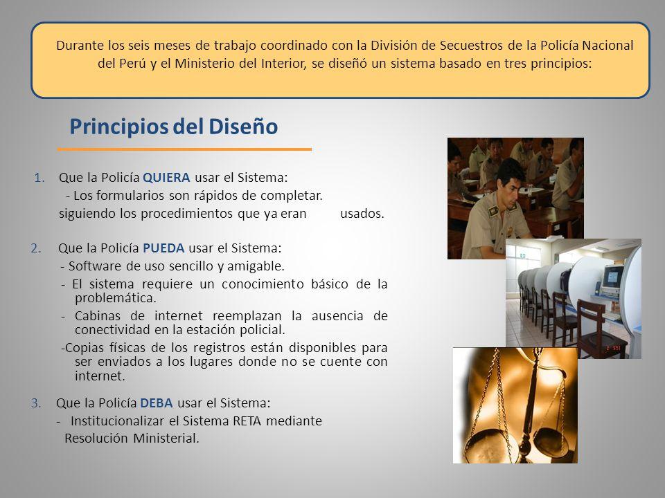 Durante los seis meses de trabajo coordinado con la División de Secuestros de la Policía Nacional del Perú y el Ministerio del Interior, se diseñó un sistema basado en tres principios:
