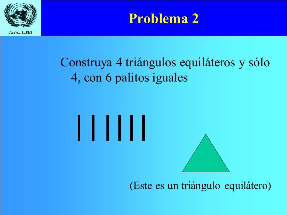 Problema 2 Construya 4 triángulos equiláteros y sólo 4, con 6 palitos iguales.