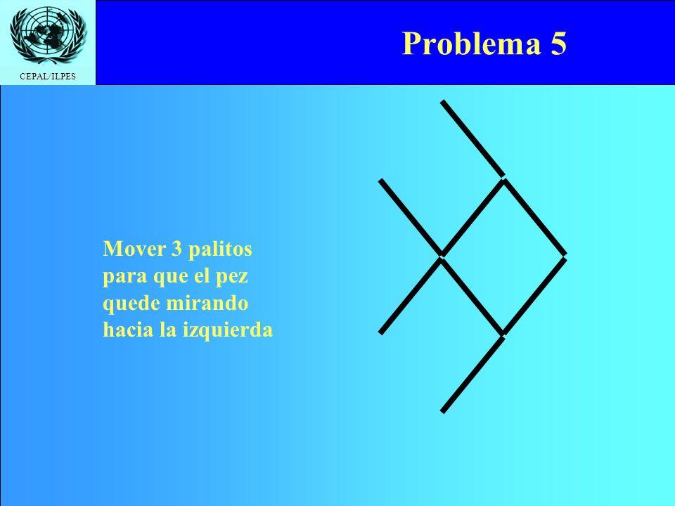 Problema 5 Mover 3 palitos para que el pez quede mirando