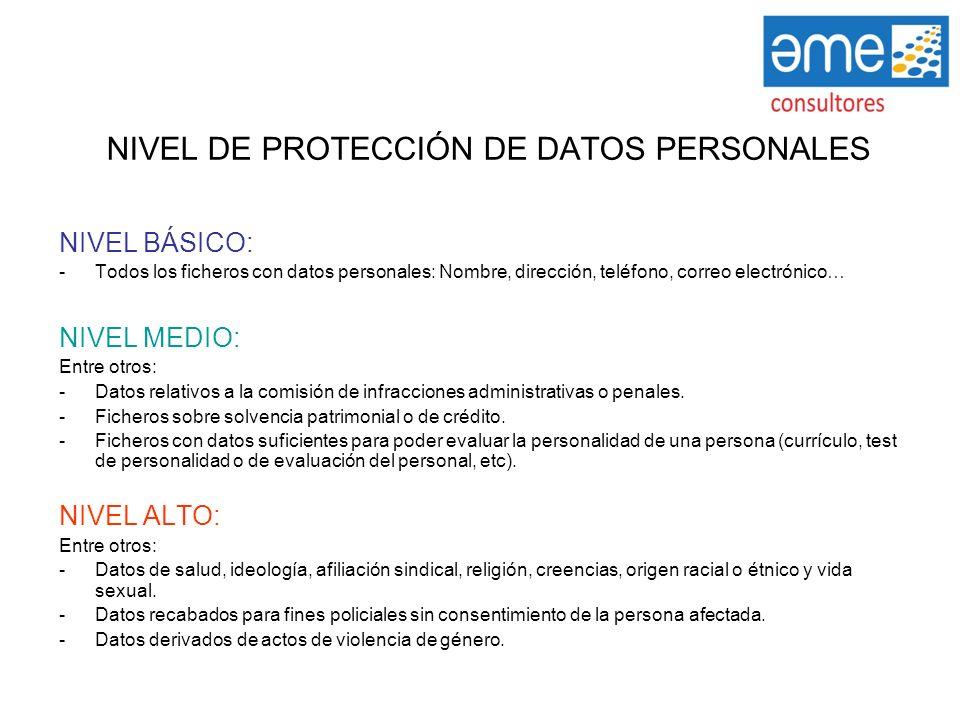 NIVEL DE PROTECCIÓN DE DATOS PERSONALES