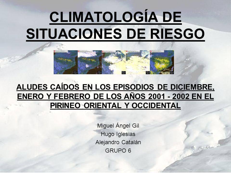 CLIMATOLOGÍA DE SITUACIONES DE RIESGO