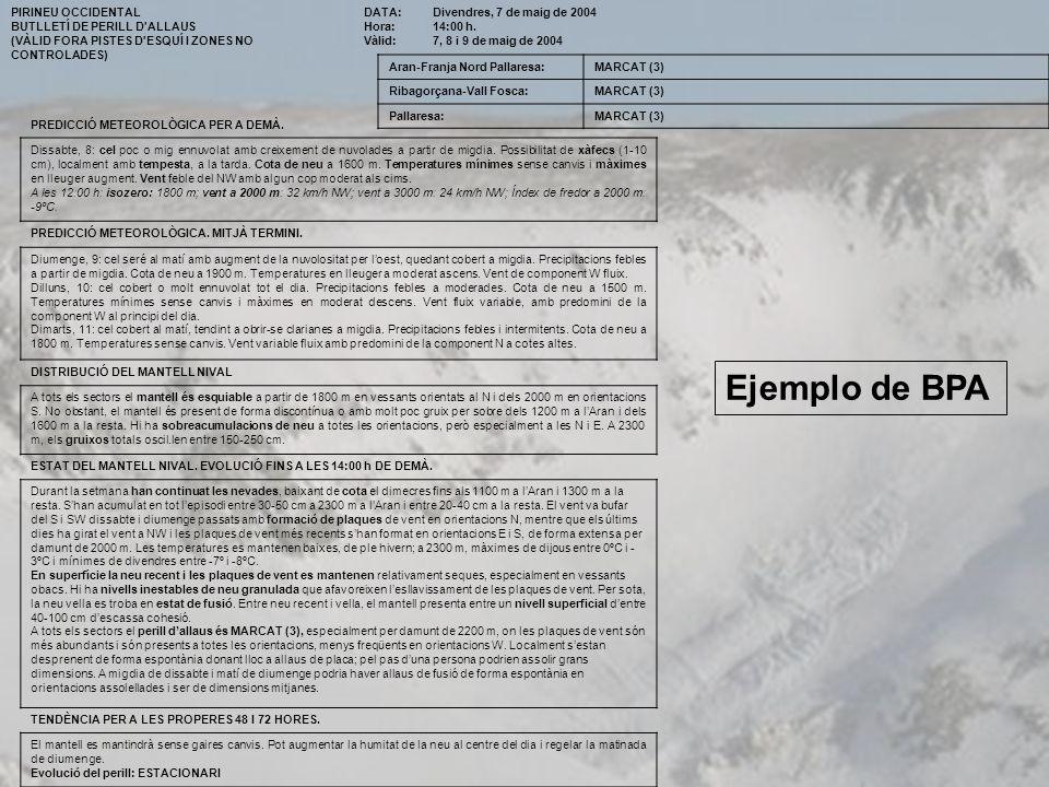 Ejemplo de BPA PIRINEU OCCIDENTAL BUTLLETÍ DE PERILL D ALLAUS
