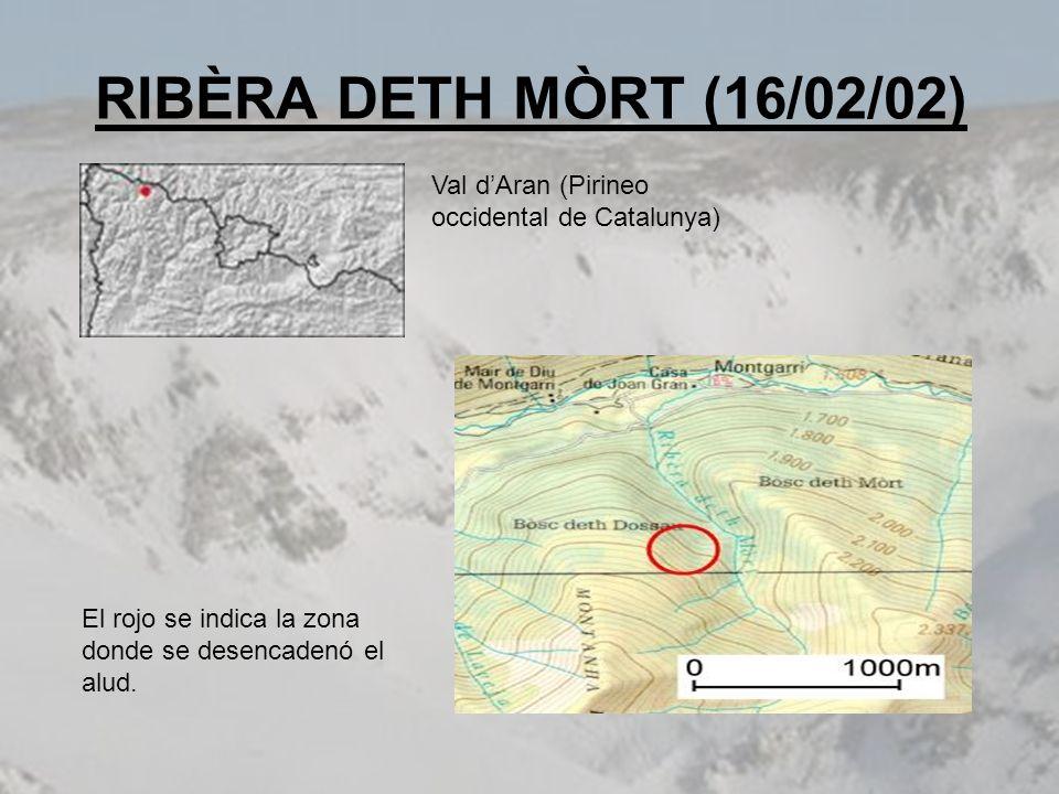 RIBÈRA DETH MÒRT (16/02/02) Val d'Aran (Pirineo occidental de Catalunya) El rojo se indica la zona donde se desencadenó el alud.