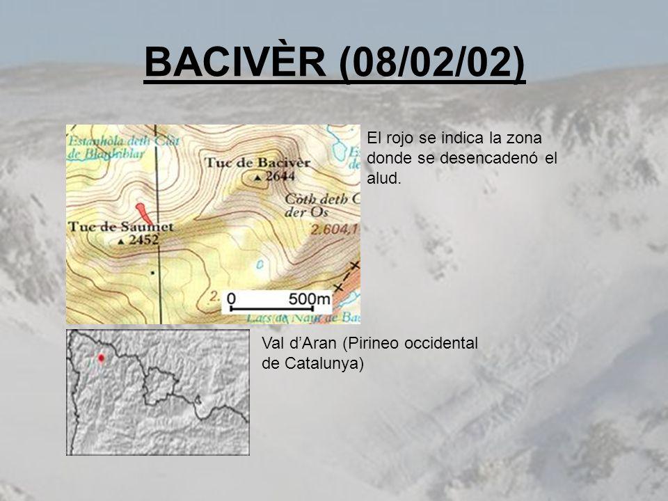 BACIVÈR (08/02/02) El rojo se indica la zona donde se desencadenó el alud.