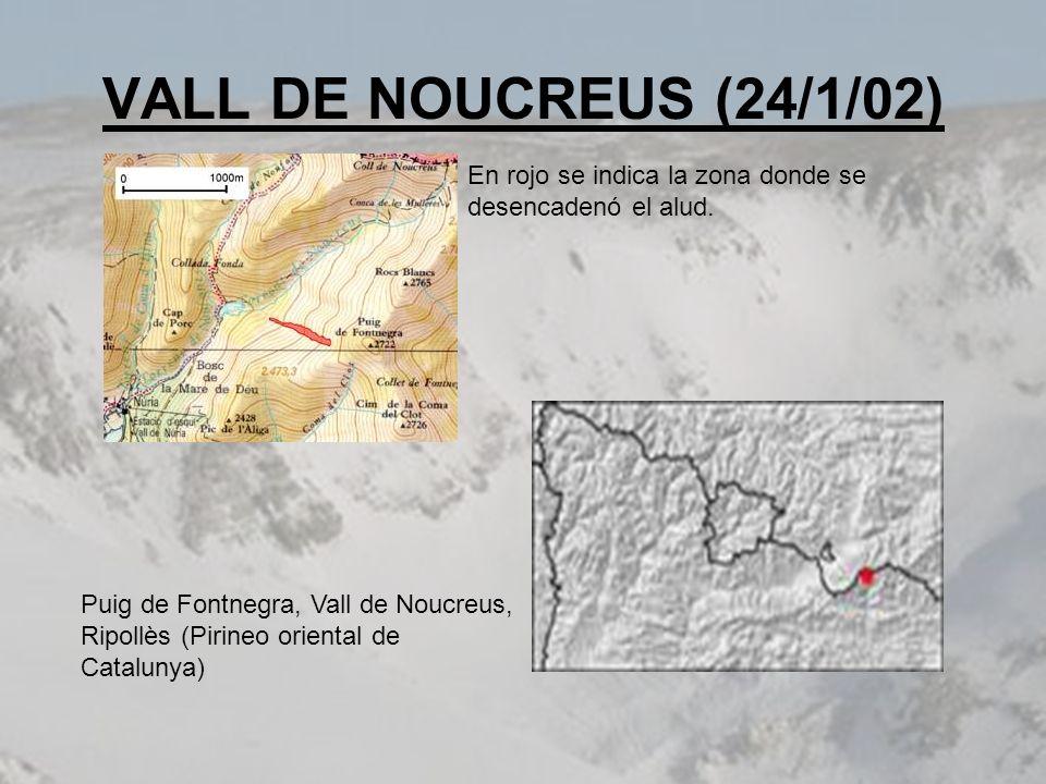 VALL DE NOUCREUS (24/1/02) En rojo se indica la zona donde se desencadenó el alud.