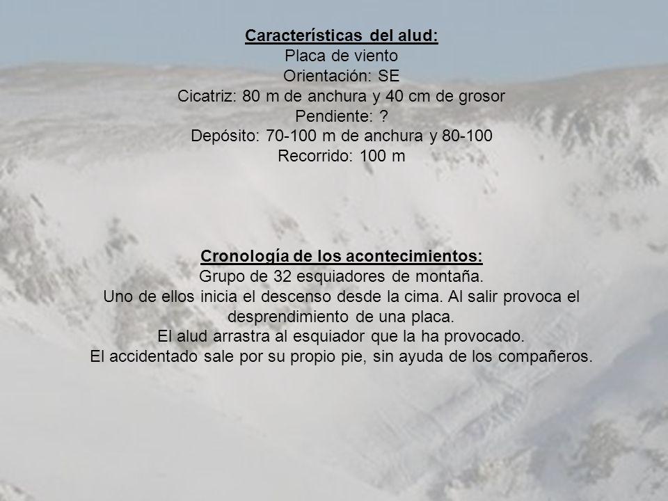 Características del alud: