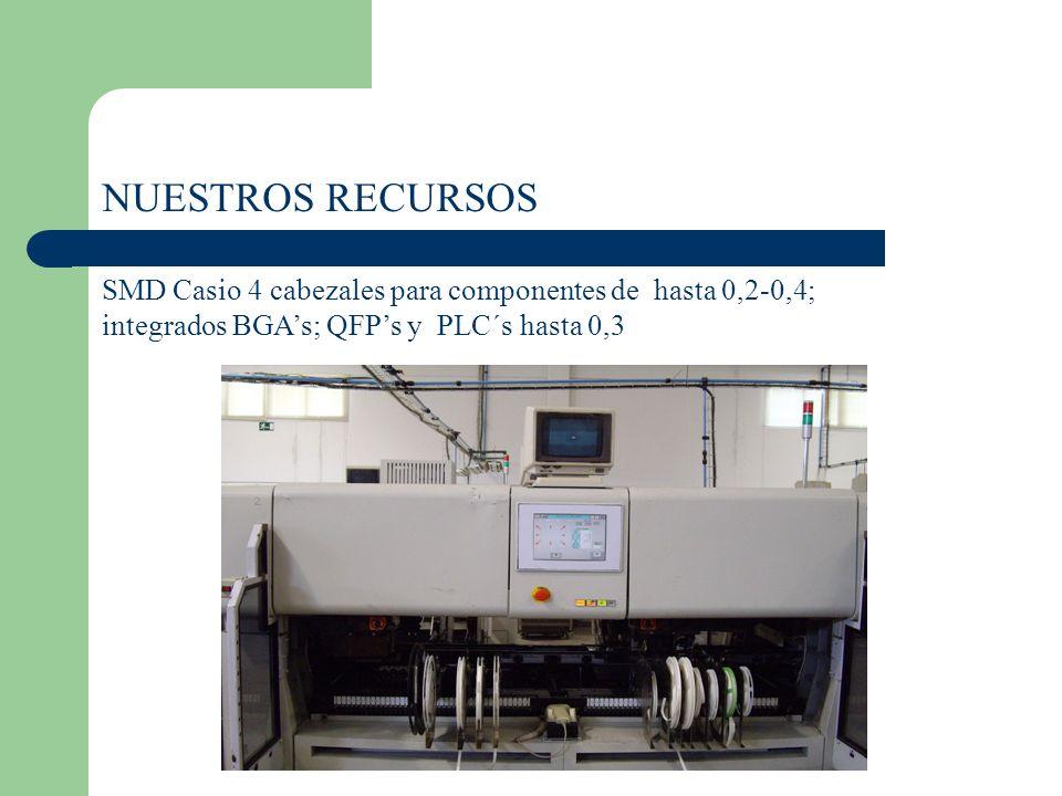 NUESTROS RECURSOS SMD Casio 4 cabezales para componentes de hasta 0,2-0,4; integrados BGA's; QFP's y PLC´s hasta 0,3.