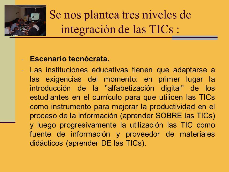 Se nos plantea tres niveles de integración de las TICs :