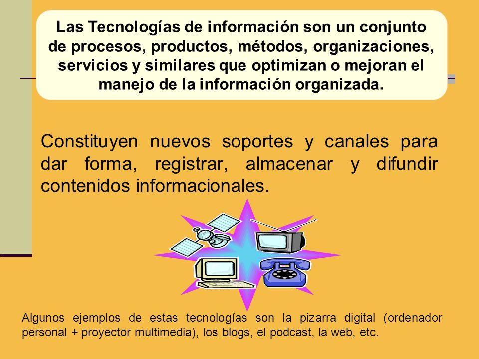 Las Tecnologías de información son un conjunto de procesos, productos, métodos, organizaciones, servicios y similares que optimizan o mejoran el manejo de la información organizada.