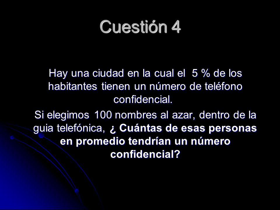 Cuestión 4 Hay una ciudad en la cual el 5 % de los habitantes tienen un número de teléfono confidencial.