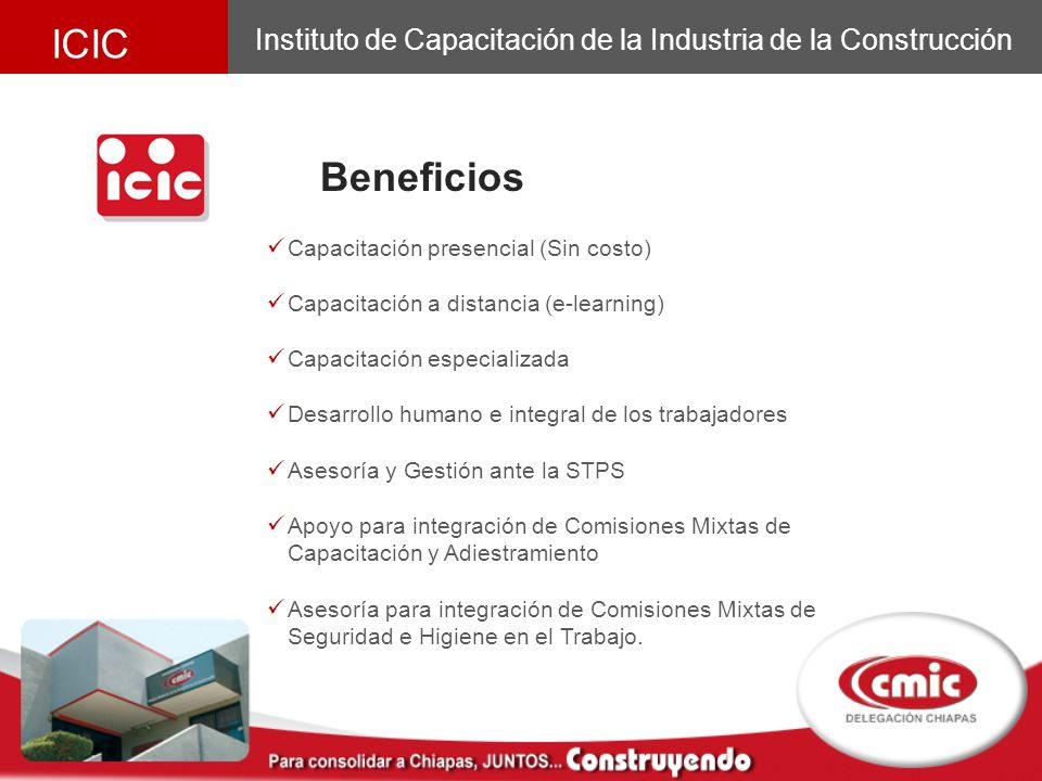 ICIC Instituto de Capacitación de la Industria de la Construcción. Beneficios. Capacitación presencial (Sin costo)