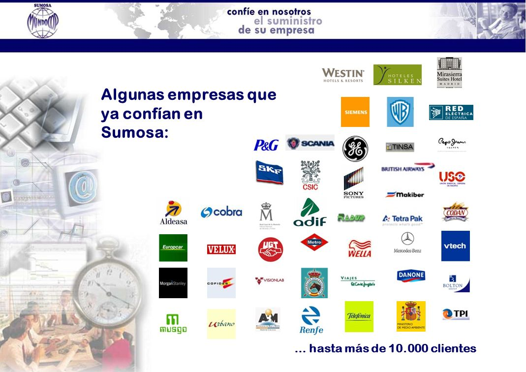 Algunas empresas que ya confían en Sumosa: