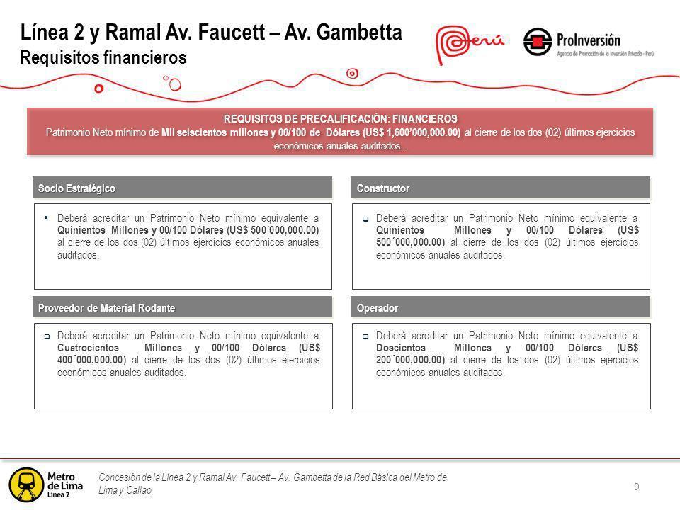 Línea 2 y Ramal Av. Faucett – Av. Gambetta Requisitos financieros