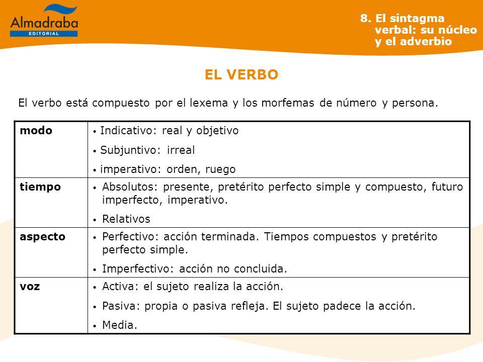 EL VERBO 8. El sintagma verbal: su núcleo y el adverbio