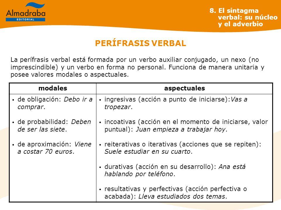 PERÍFRASIS VERBAL 8. El sintagma verbal: su núcleo y el adverbio
