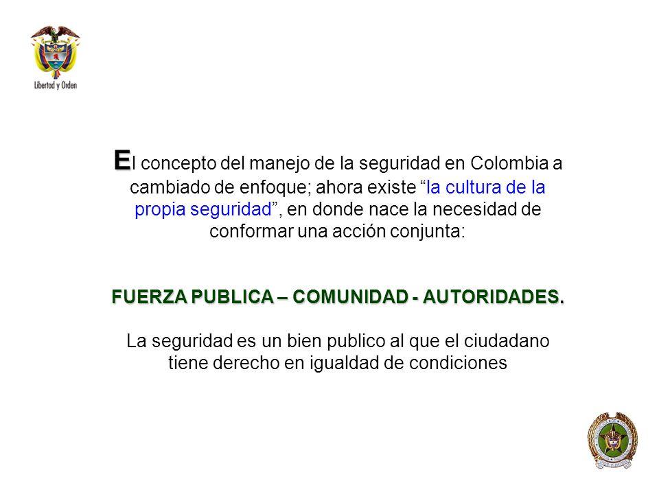 El concepto del manejo de la seguridad en Colombia a cambiado de enfoque; ahora existe la cultura de la propia seguridad , en donde nace la necesidad de conformar una acción conjunta: FUERZA PUBLICA – COMUNIDAD - AUTORIDADES.