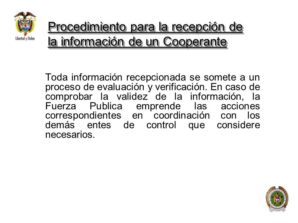 Procedimiento para la recepción de la información de un Cooperante