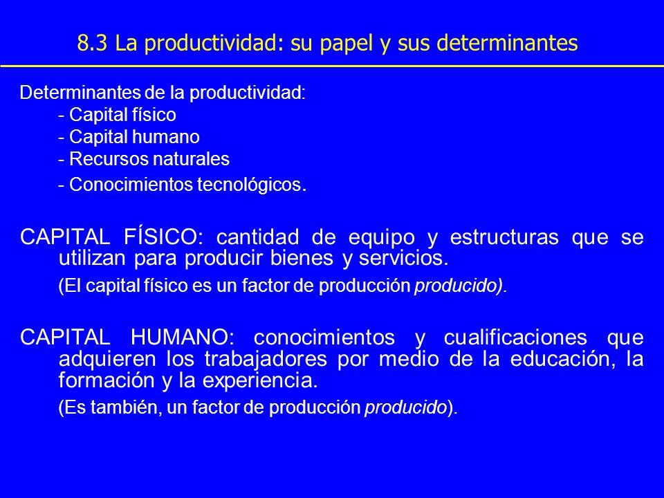 8.3 La productividad: su papel y sus determinantes