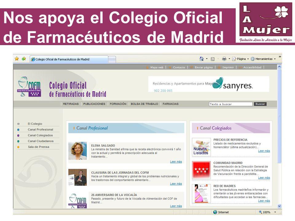Nos apoya el Colegio Oficial de Farmacéuticos de Madrid