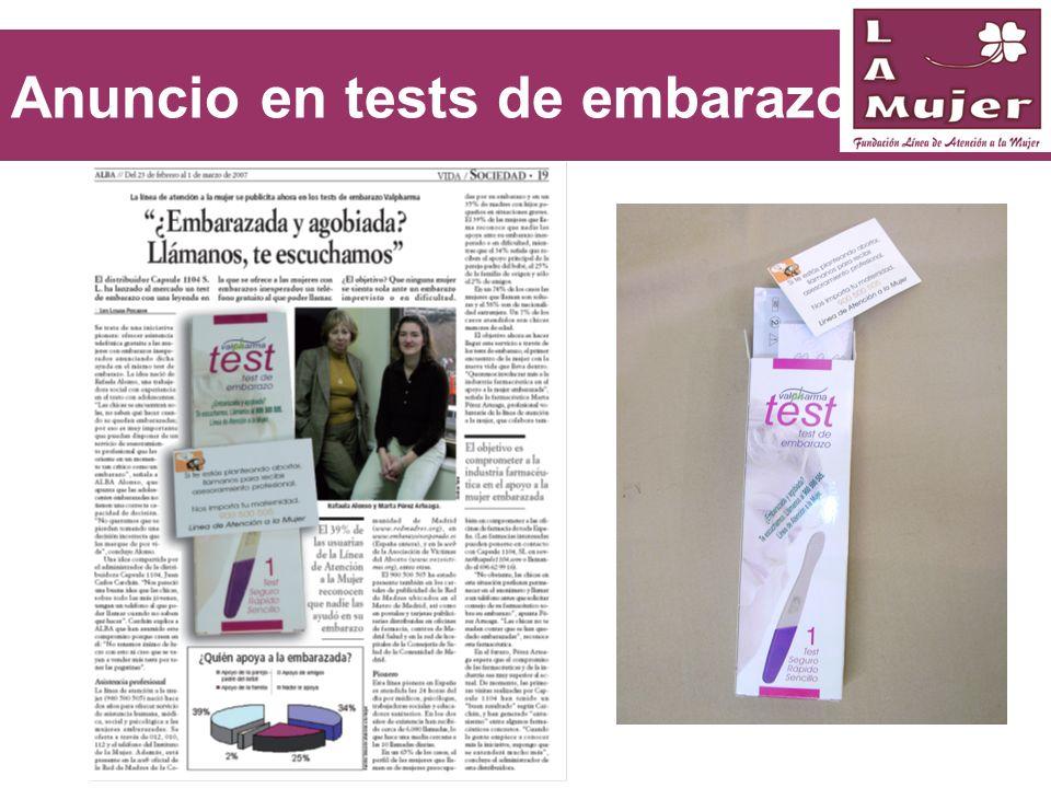 Anuncio en tests de embarazo