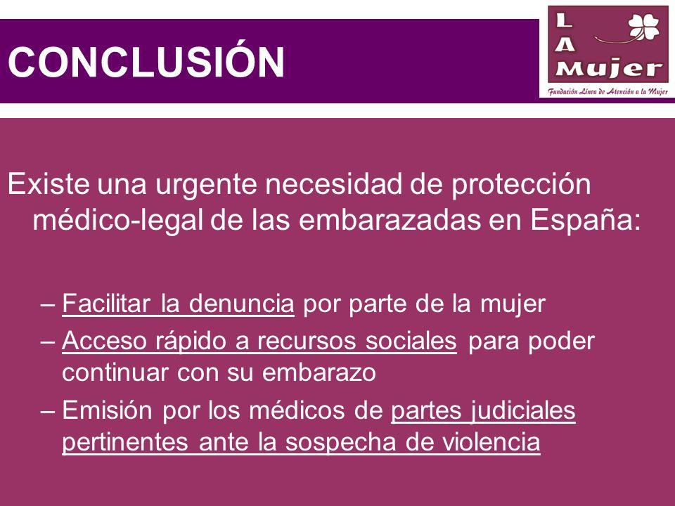 CONCLUSIÓN Existe una urgente necesidad de protección médico-legal de las embarazadas en España: Facilitar la denuncia por parte de la mujer.