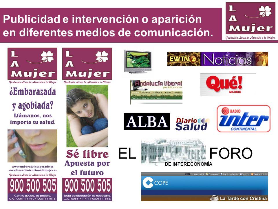 Publicidad e intervención o aparición en diferentes medios de comunicación.