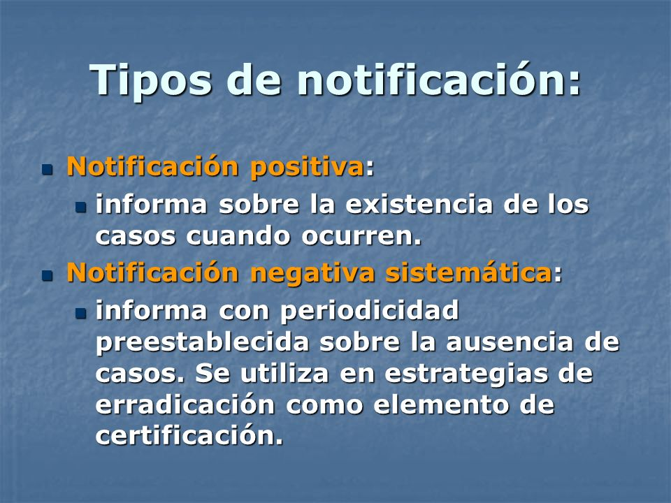 Tipos de notificación: