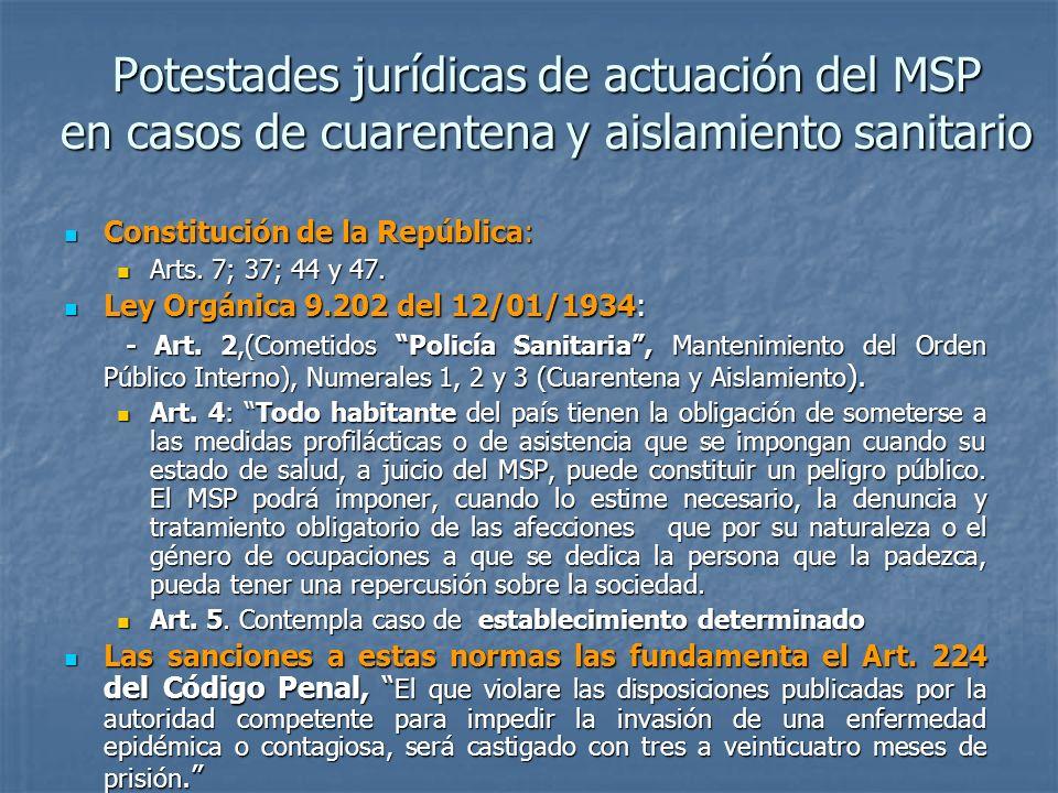 Potestades jurídicas de actuación del MSP en casos de cuarentena y aislamiento sanitario