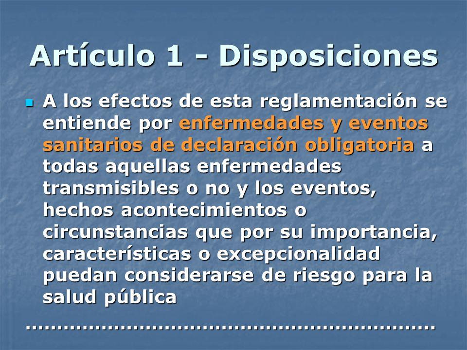 Artículo 1 - Disposiciones