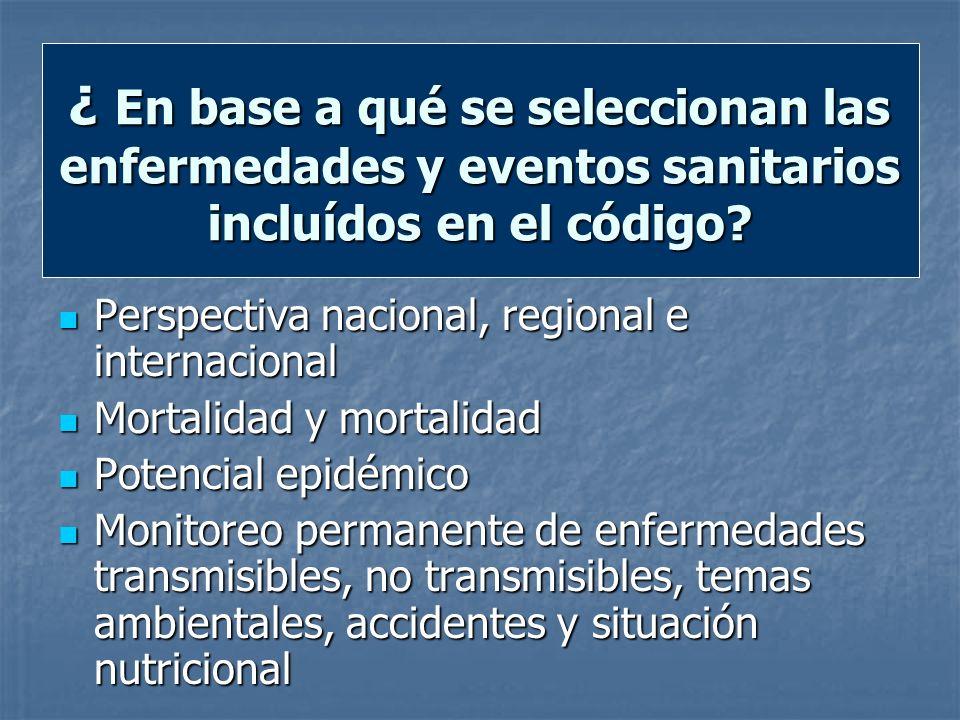 ¿ En base a qué se seleccionan las enfermedades y eventos sanitarios incluídos en el código