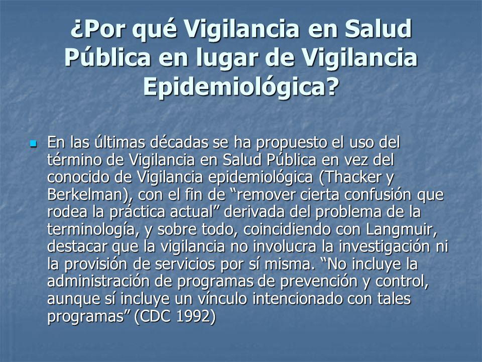 ¿Por qué Vigilancia en Salud Pública en lugar de Vigilancia Epidemiológica
