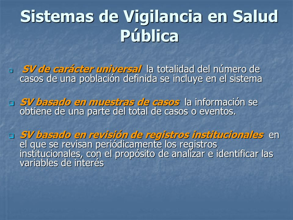 Sistemas de Vigilancia en Salud Pública