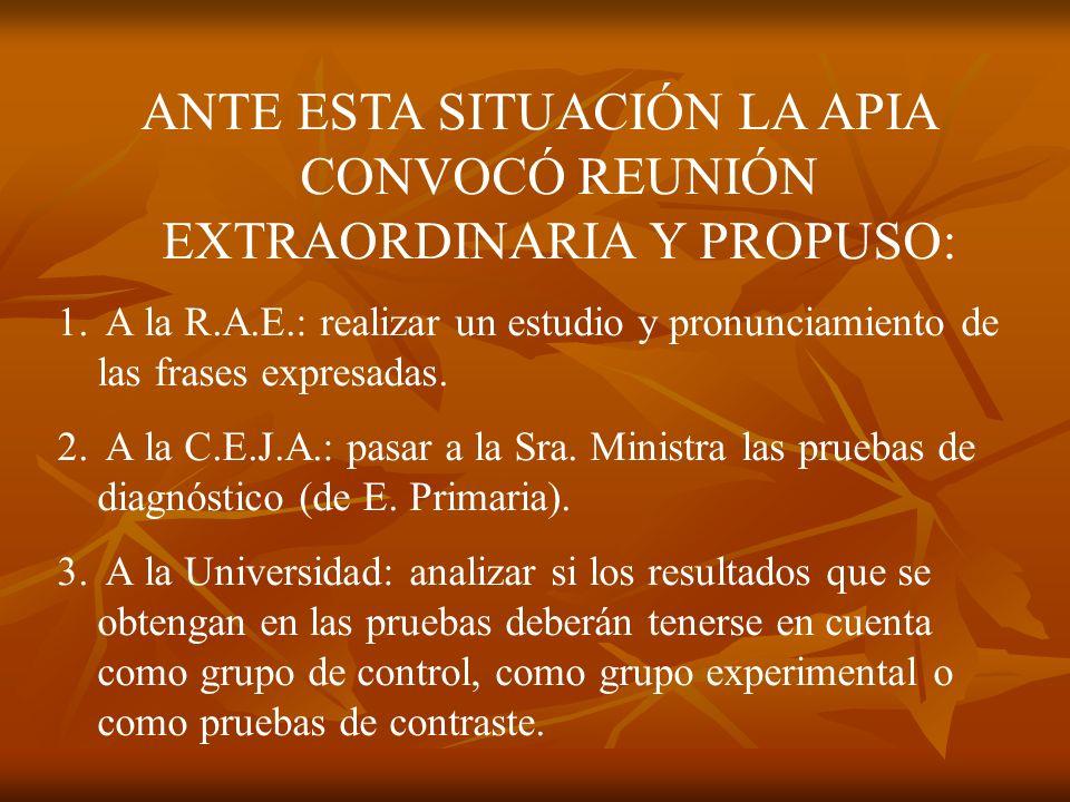 ANTE ESTA SITUACIÓN LA APIA CONVOCÓ REUNIÓN EXTRAORDINARIA Y PROPUSO: