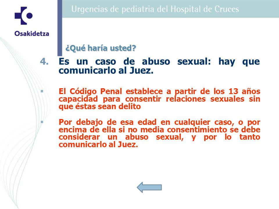 Es un caso de abuso sexual: hay que comunicarlo al Juez.