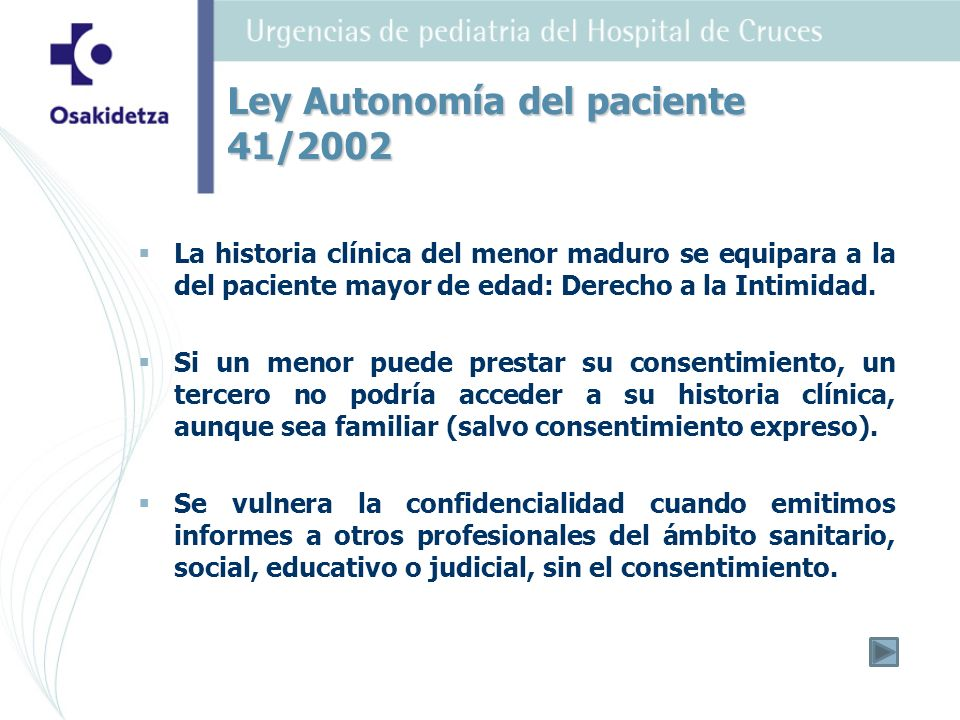 Ley Autonomía del paciente 41/2002