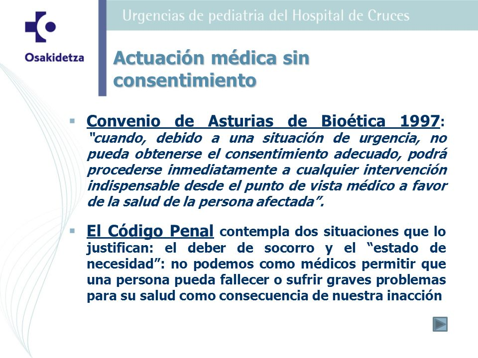 Actuación médica sin consentimiento