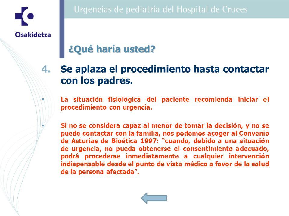 Se aplaza el procedimiento hasta contactar con los padres.