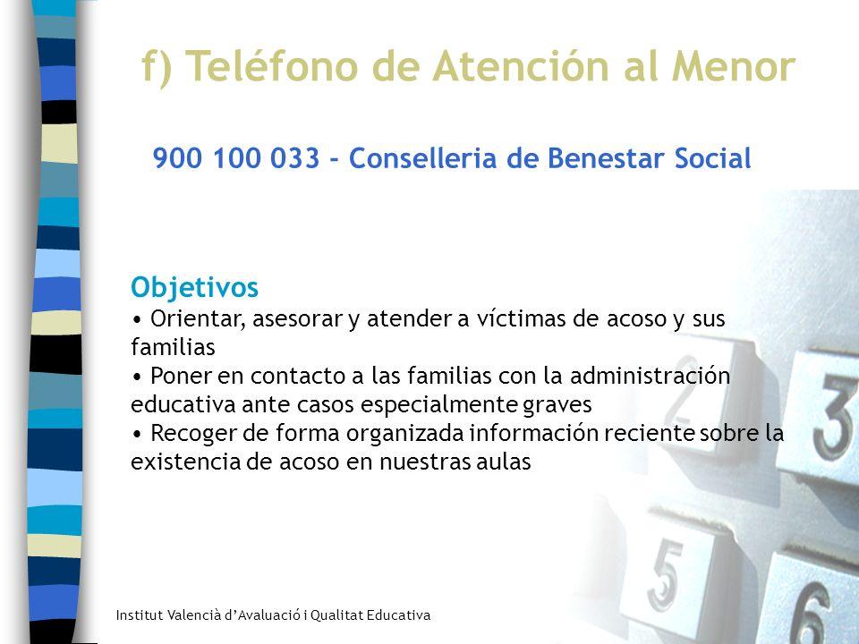 f) Teléfono de Atención al Menor