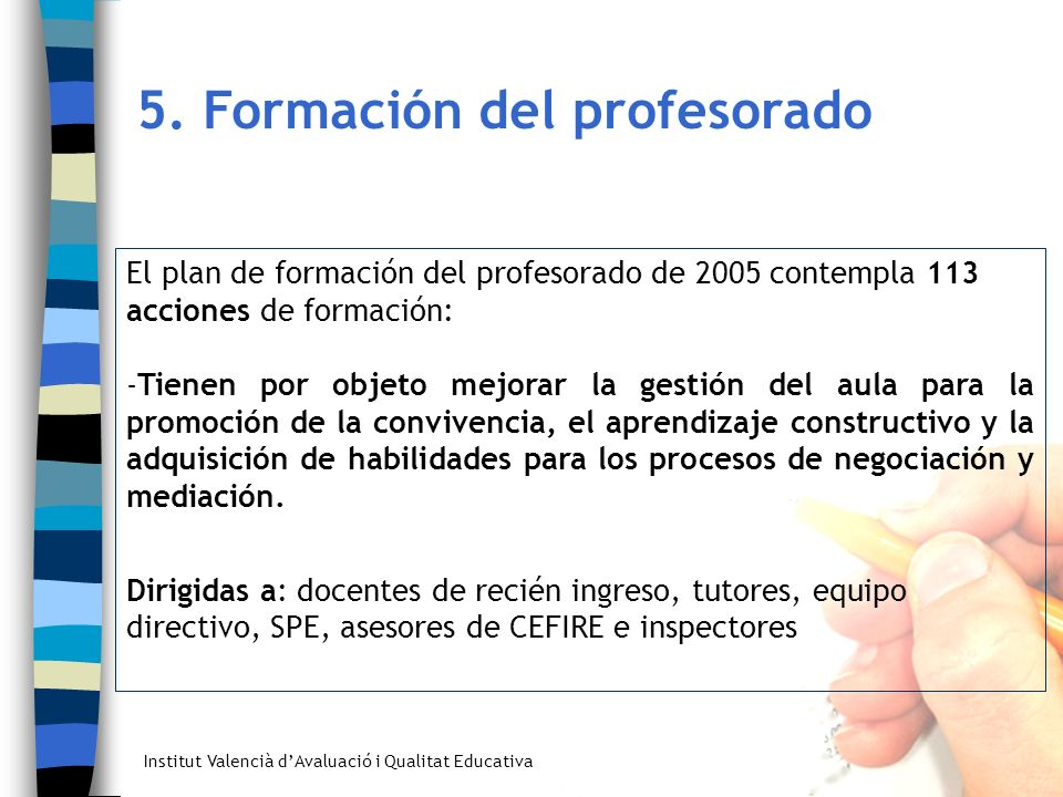 5. Formación del profesorado