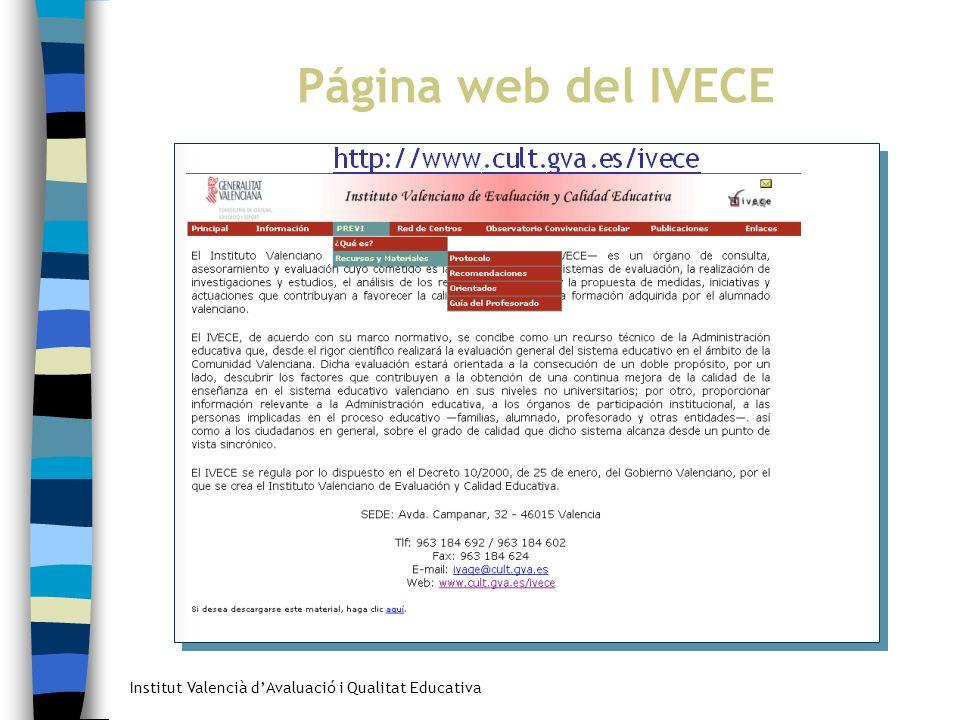 Página web del IVECE Acciones futuras en el marco del Plan PREVI