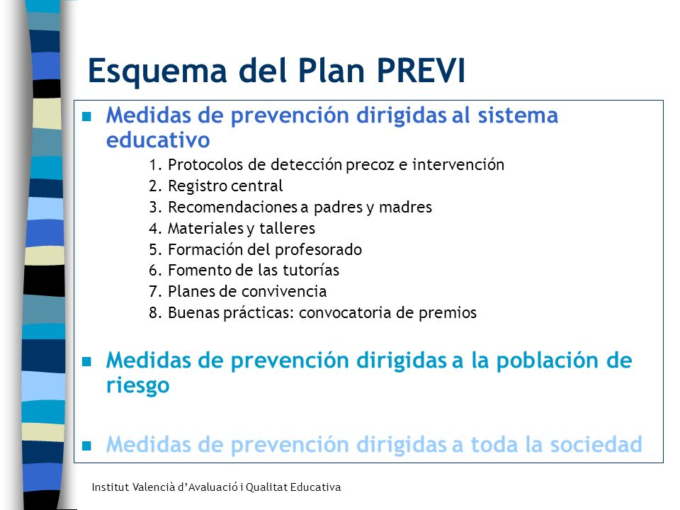 Esquema del Plan PREVI Medidas de prevención dirigidas al sistema educativo. 1. Protocolos de detección precoz e intervención.